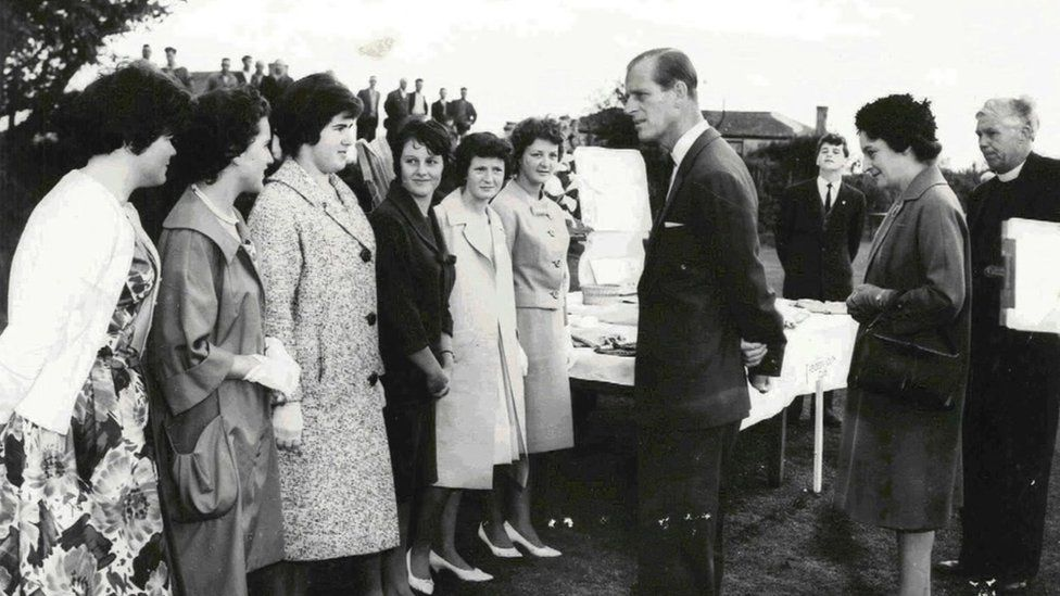 Prince Philip visiting Duke of Edinburgh students in Cambourne