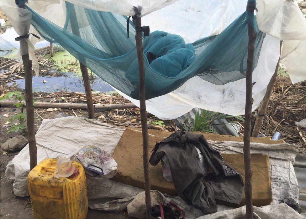 A temporary bed at a demolition site in Dar es Salaam, Tanzania