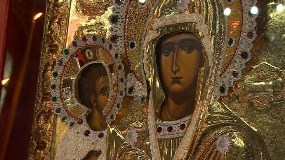 Serbian Orthodox Church icon replica in Birmingham