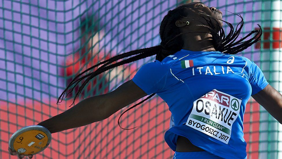Daisy Osakue from Italy competes in women's discus throw qualification during Day 1 of European Athletics U23 Championships 2017 at Zawisza Stadium on July 13, 2017 in Bydgoszcz, Poland.