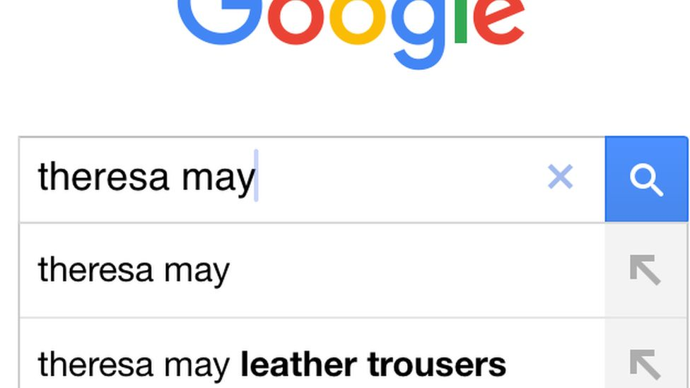 Screen shot of Google searches for Theresa May