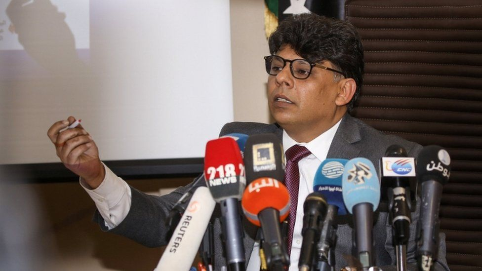 Sediq AlSour, head of the investigations bureau at the attorney general's office, speaking at a press conference