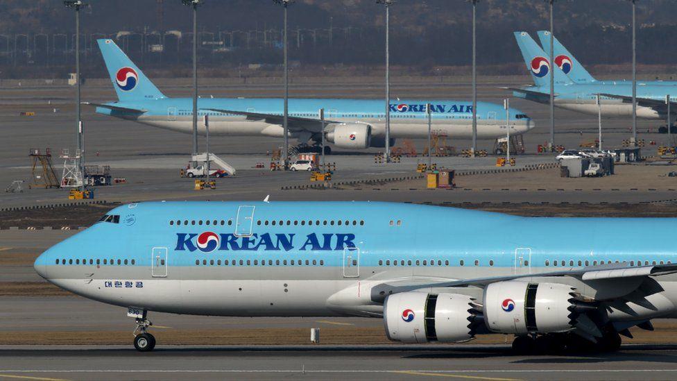 Korean Air planes at Incheon International Airport, Seoul, South Korea