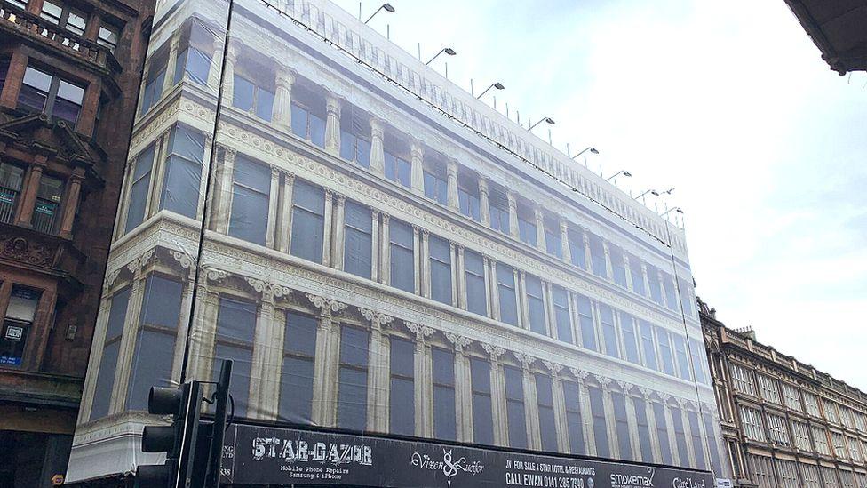 The fake facade of the building