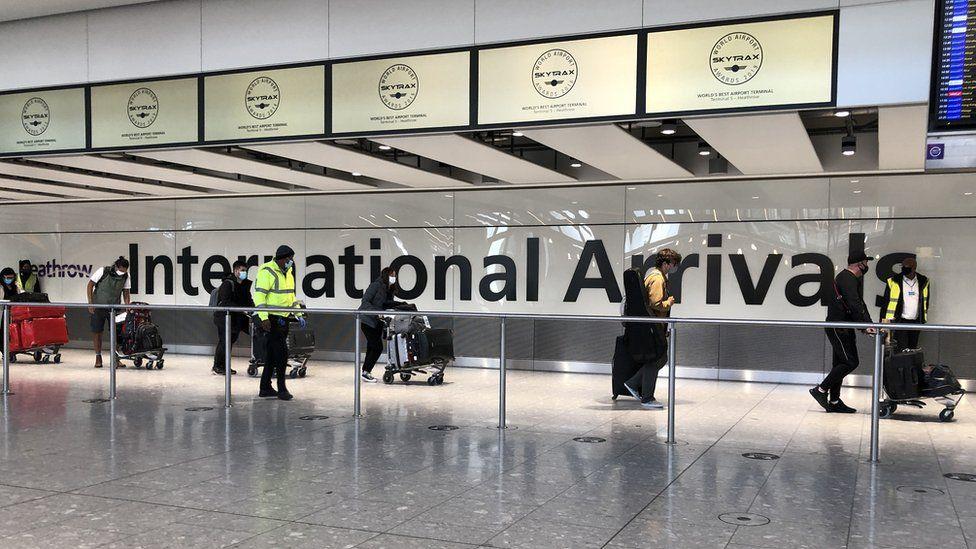 Passengers arriving at Heathrow airport