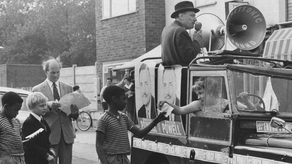 Enoch Powell, campaigning in Wolverhampton in 1970