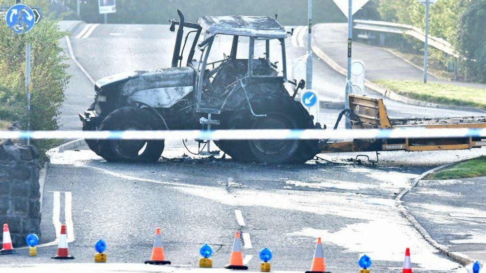 Damaged vehicle in Crumlin, County Antrim