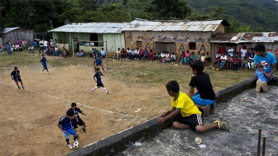 Young men compete in a multi-village soccer tournament in the province of Ayacucho on 15 March 2015
