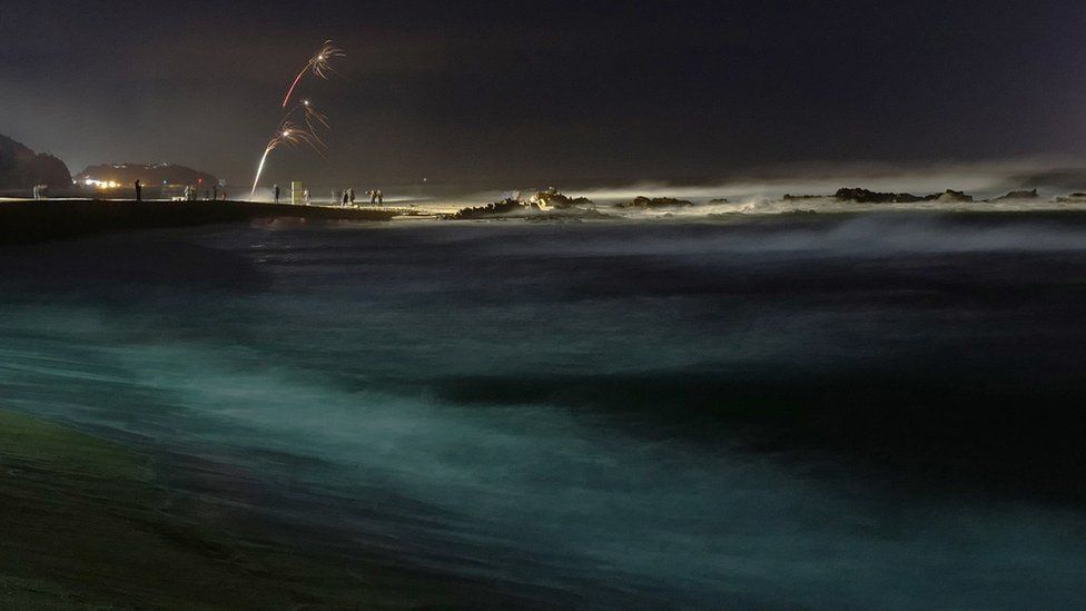 Revellers launch fireworks from Jeongdongjin beach in Gangneung, Ganwon-province, South Korea