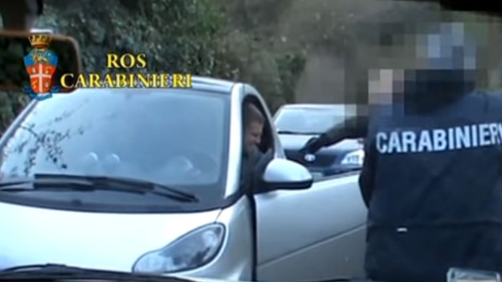 An image from an Italian police video of the arrest of Carminati in 2014