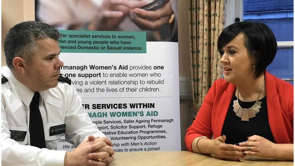 Chief Inspector Clive Beatty and Michelle Alonso from Fermanagh Women's Aid
