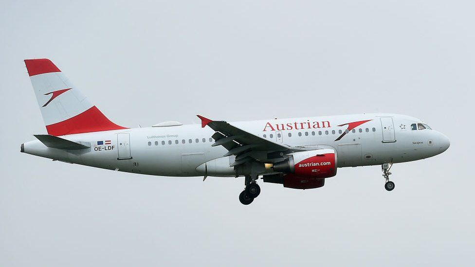An Austrian Airlines plane left Vienna for Moscow on Friday morning (file pic)