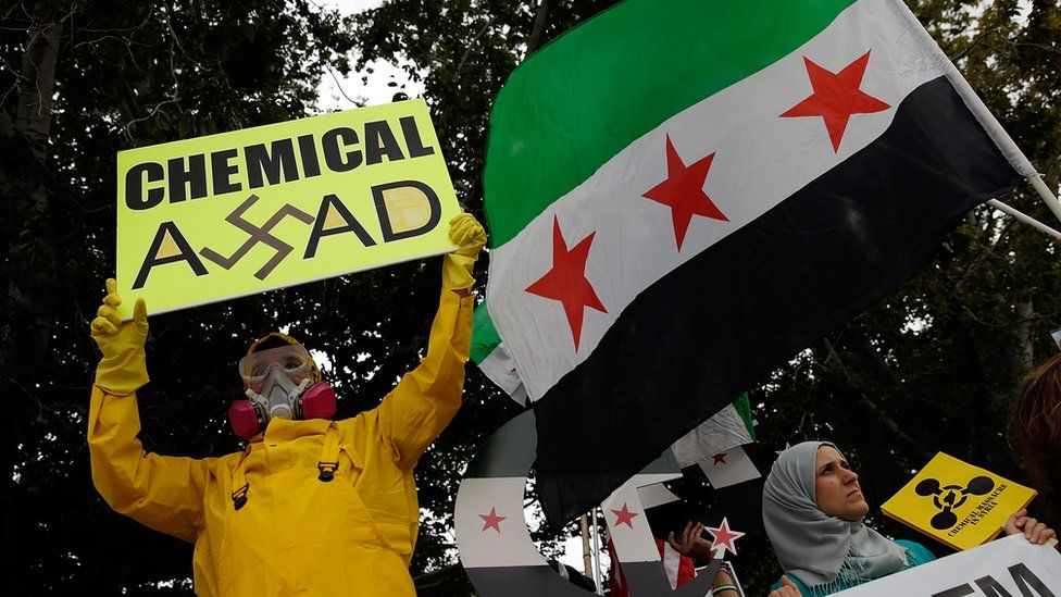 US protestors call for action against the Assad regime following its alleged deployment of chemical weapons. 2013.