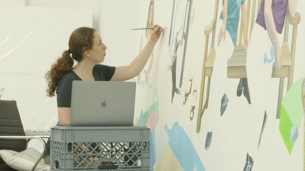 Aliza Nisenbaum in her studio