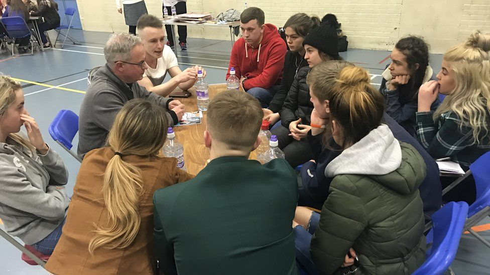 Young people talk to SDLP candidate Alex Attwood
