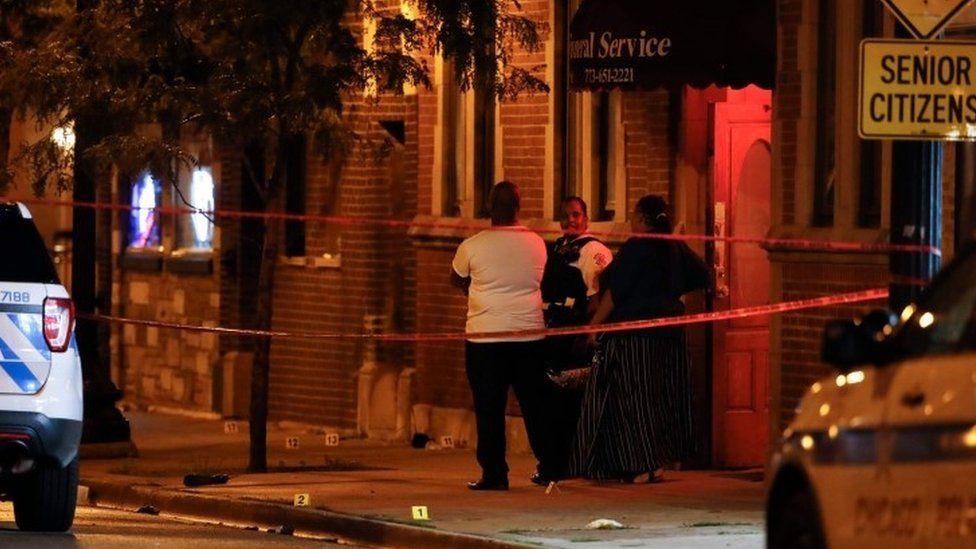 Scene of the shooting in Gresham, Chicago, on 21 July 2020