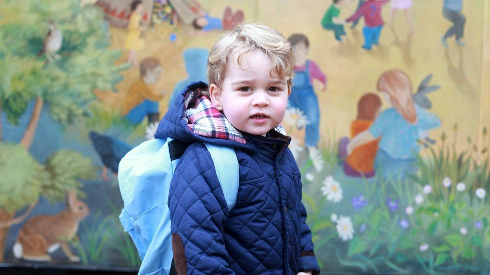 Taken by his mother, the Duchess of Cambridge, of Prince George on his first day at the Westacre Montessori nursery school near Sandringham in Norfolk