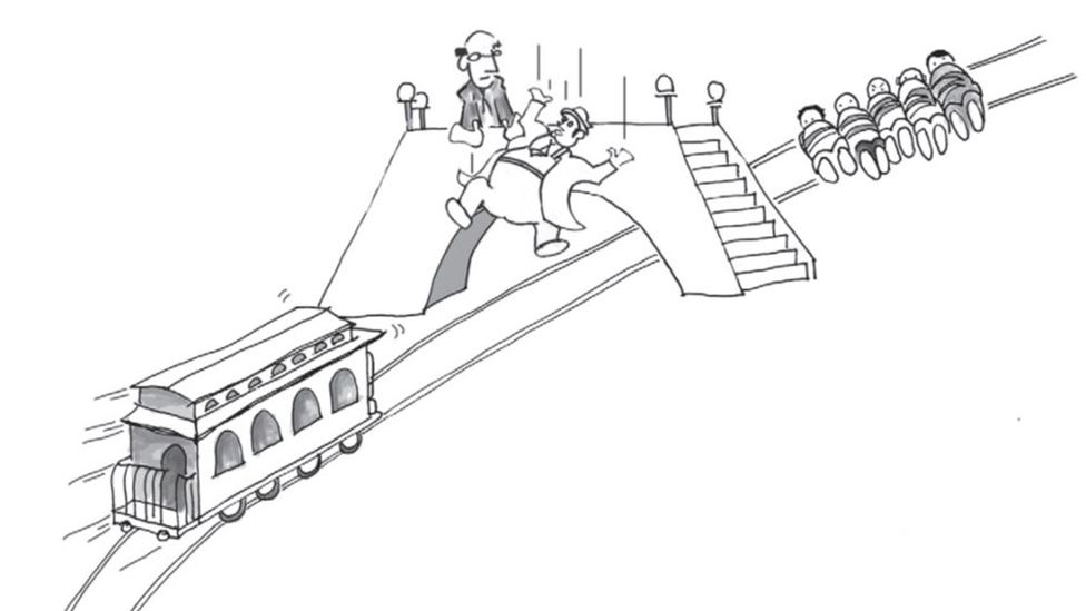 A cartoon man shown pushing another man off a bridge to save five lives