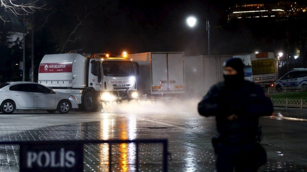 A local municipality vehicle cleans the streets at Sultanahmet square in Istanbul, Turkey, January 12