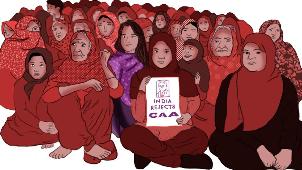 Illustration depicting the Shaheen Bagh protest