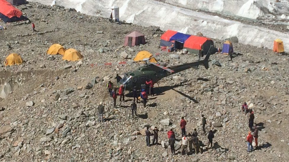 Helicopter at base camp