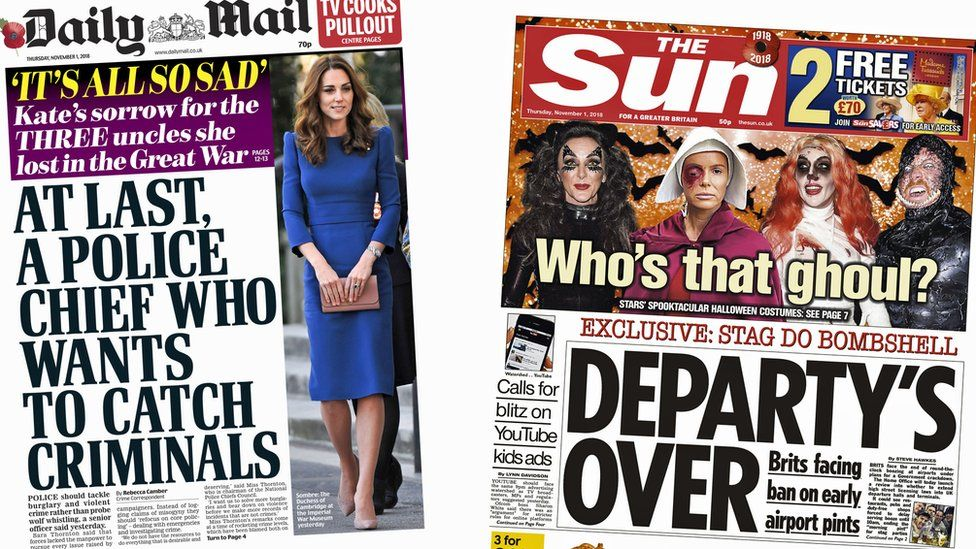 Daily Mail and Sun front pages for 1/11/18