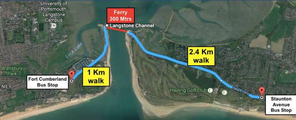 Map of Hayling Ferry location