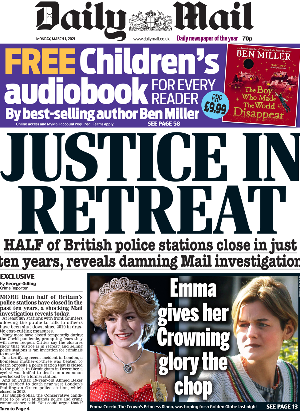 The Daily Mail front page 1 March 2021