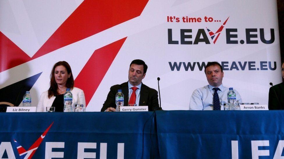 Liz Bilney, Gerry Gunster and Arron Banks in 2015