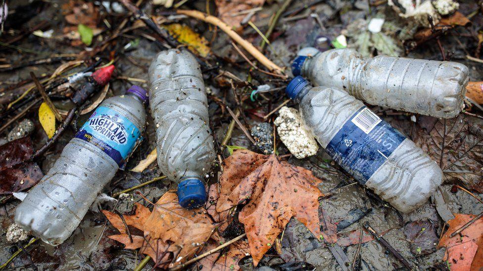 Plastic bottles littered on a ground