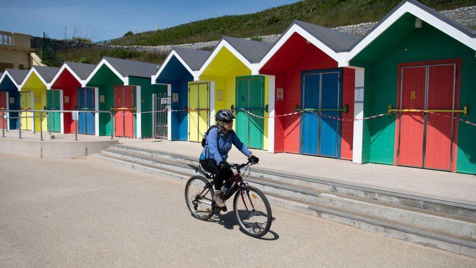 A cyclist in Barry Island