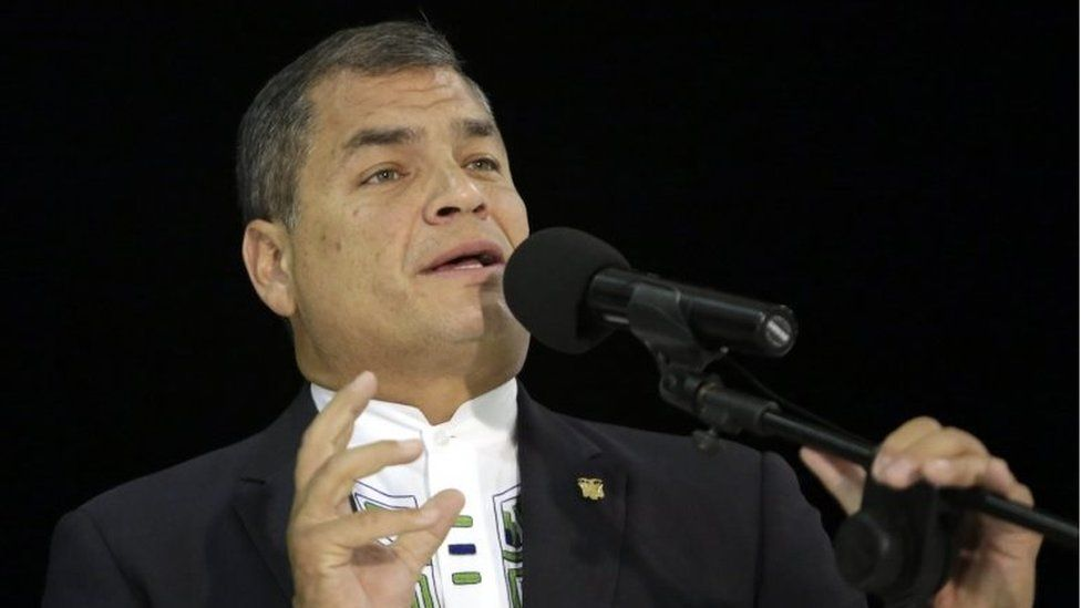 President of Ecuador Rafael Correa speaks after his arrival at the Rafael Nunez airport for the 25th Iberoamerican Summit in Cartagena, Colombia, 28 October 2016.