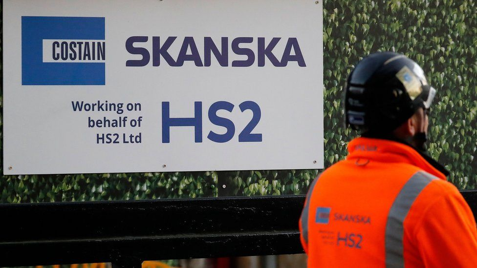 HS2/Skanska sign and worker