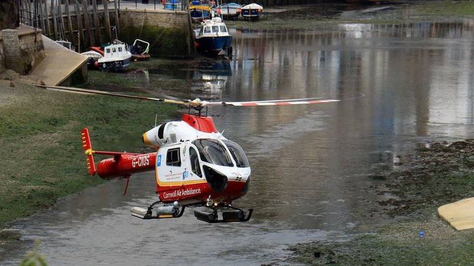 Air ambulance on scene