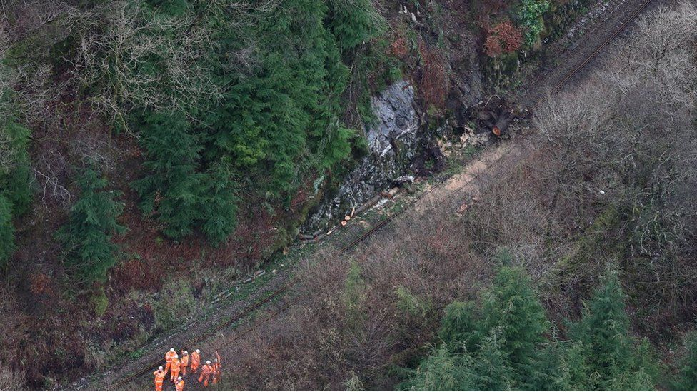 Aerial view of rail line damage