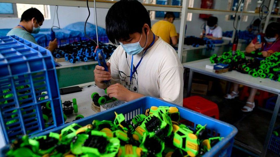 Workers assembling toys at the Mendiss toy factory in Shantou, in southern China's Guangdong province.