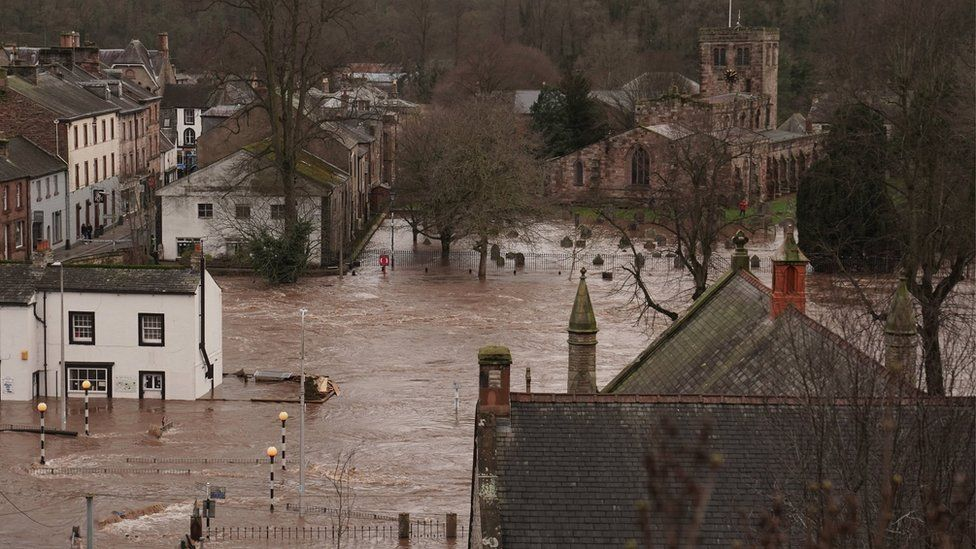 Appleby-in-Westmoreland, Cumbria, after Storm Ciara