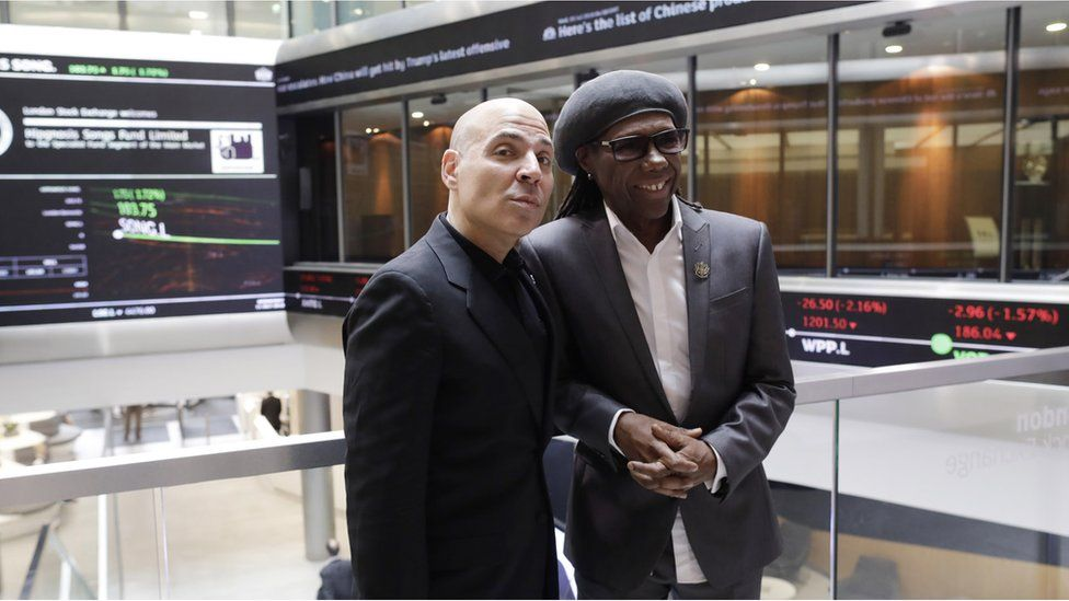 Merck Mercuriadis and Nile Rodgers at the London Stock Exchange