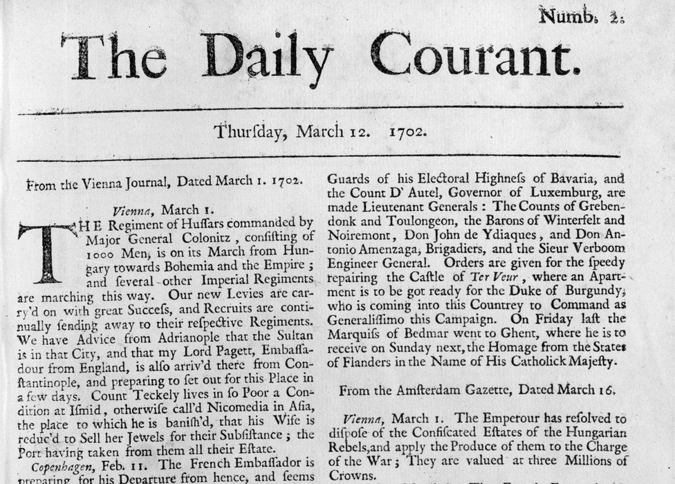 The second edition of The Daily Courant, published on 12 March, 1702.