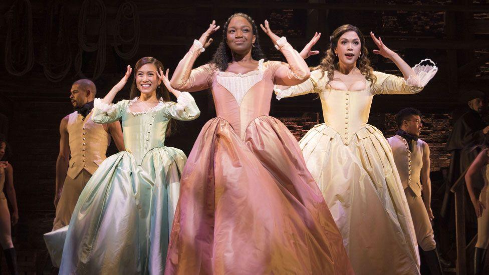 Rachelle Ann Go, Rachel John and Christine Allado as 'The Schuyler Sisters' in Hamilton
