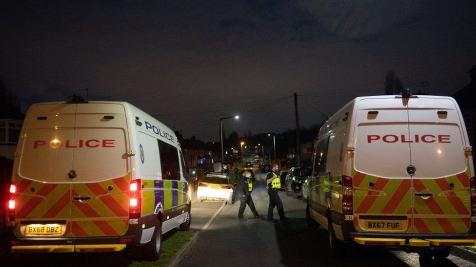 Police at the scene after the dog attack