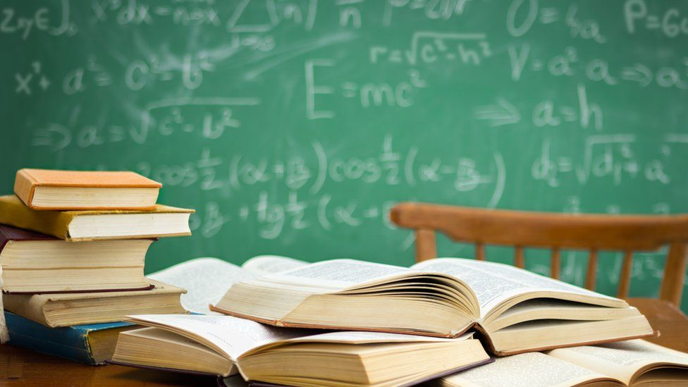 Textbooks on a desk