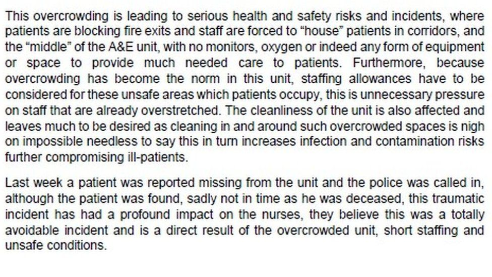 Excerpt from RCN letter to William Harvey Hospital
