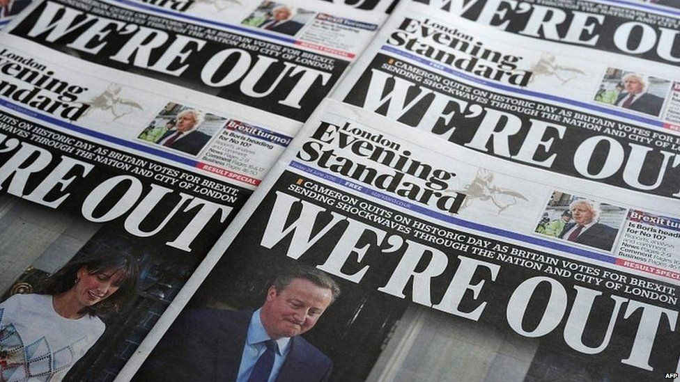 Newspaper headlines reporting the result of the 2016 Brexit referendum