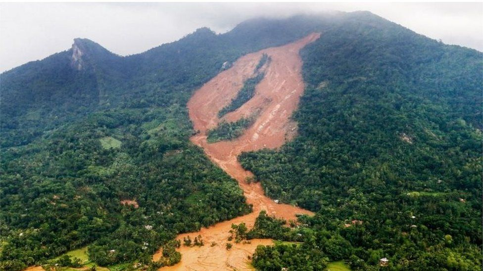 This photograph released by the Sri Lankan President's Office on May 18, 2016, shows the area where a landslide struck near Aranayake in central Sri Lanka.