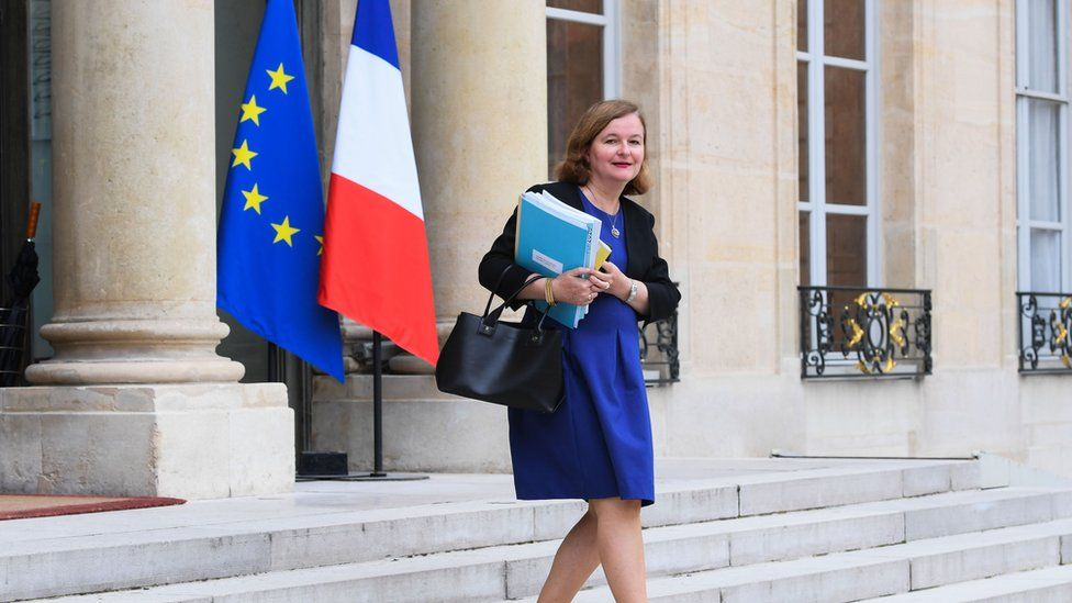 Nathalie Loiseau looks into camera while walking down the stairs