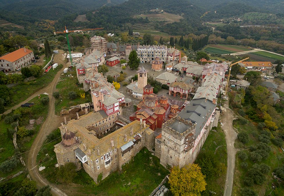 MOUNT ATHOS - NOVEMBER 07: Aerial view of the The Holy and Great Monastery of Vatopedi on November 07, 2017 in Mount Athos, Greece