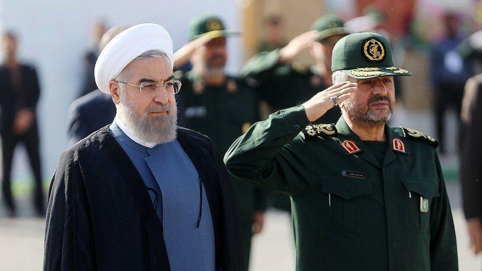 Iranian President Hassan Rouhani and IRGC commander Mohamad Ali Jafari (15 September 2015)