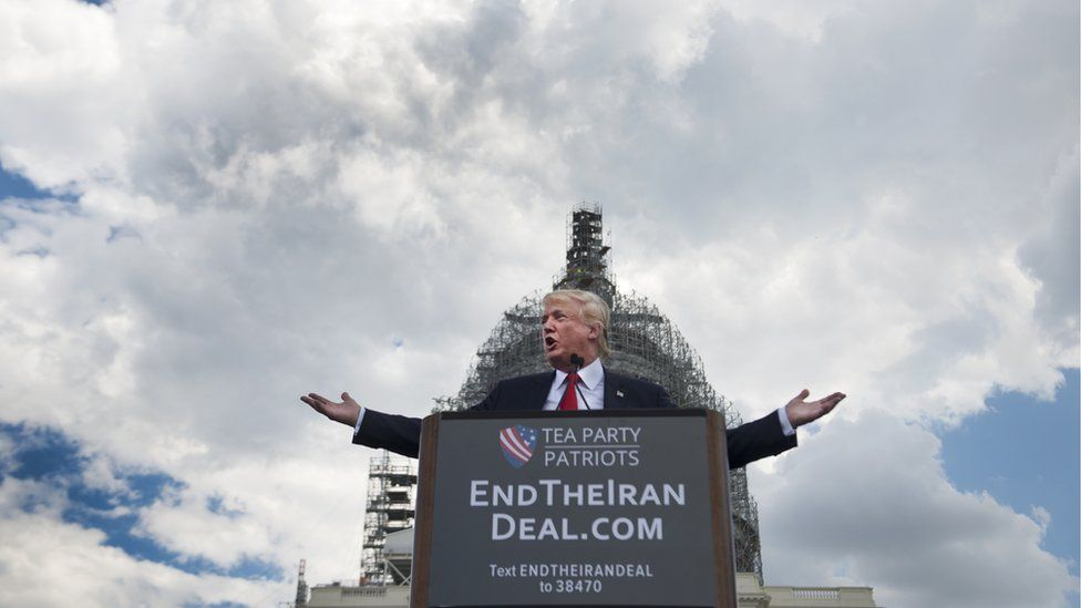 Donald Trump speaks at a the Stop The Iran Nuclear Deal protest in front of the U.S. Capitol in Washington, DC on 9 September 2015.