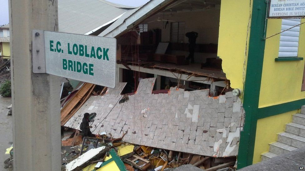 A protestant church collapsed in the centre of the capital, Roseau